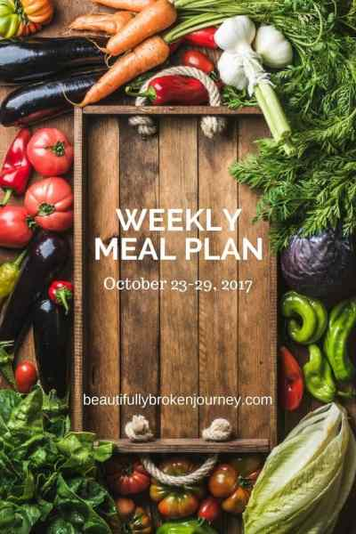 Weekly Meal Plan 10/23-10/29/2017