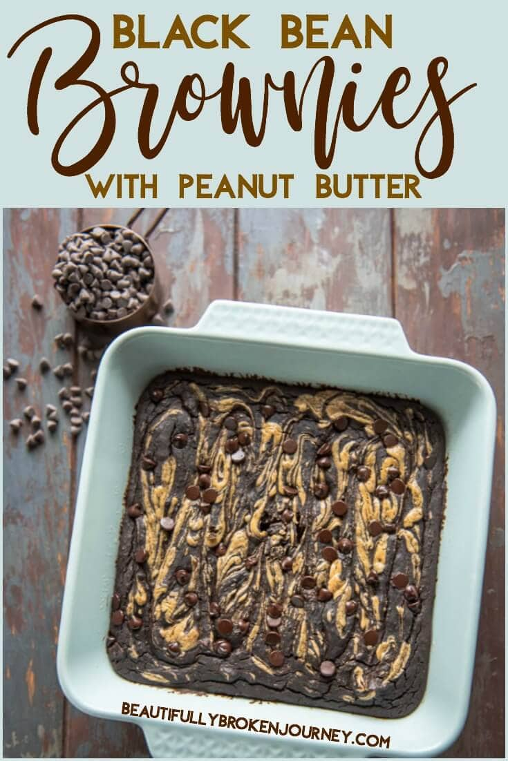 The best healthy brownie I've ever had... Black Bean Brownies with Peanut Butter are easy, flourless and guilt free!