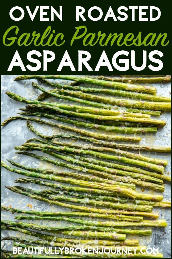 Fresh asparagus drizzled with olive oil and garlic and roasted with fresh parmesan cheese is a healthy and easy vegetable to accompany your favorite entree!  Oven Roasted Garlic Parmesan Asparagus will be a new family favorite! #asparagus #roastedasparagus #roastedveggies #veggies #vegetables #healthyrecipes
