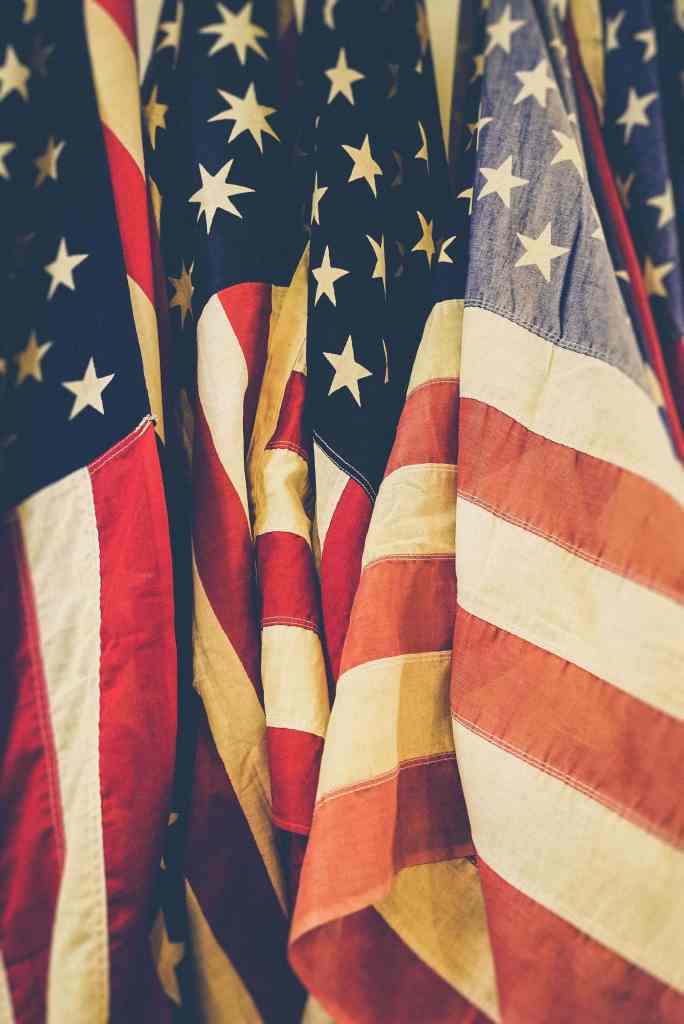 American flags hung together