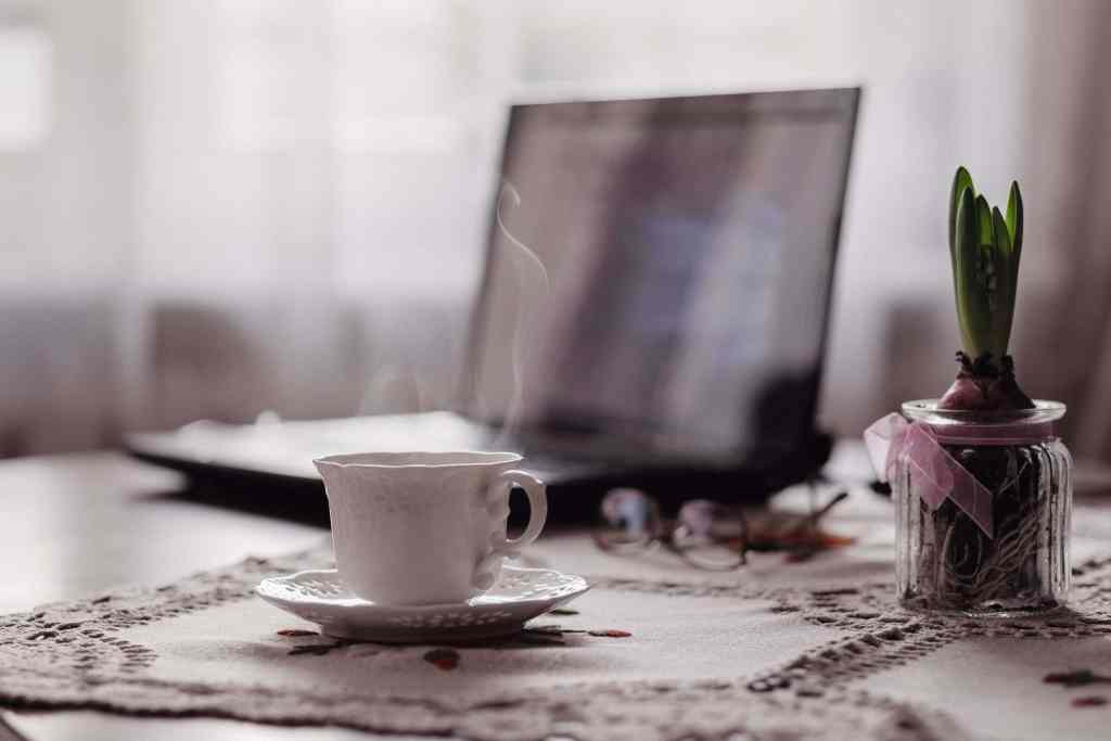 A cup of warm tea with a computer and plant