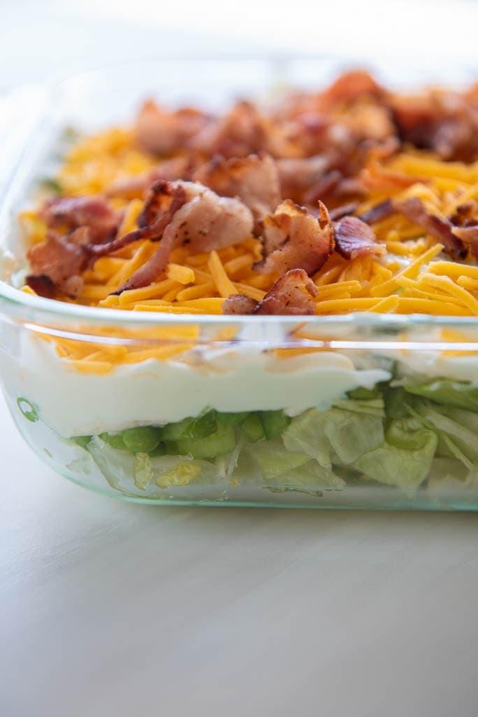 9x13 pan of 7 layer salad