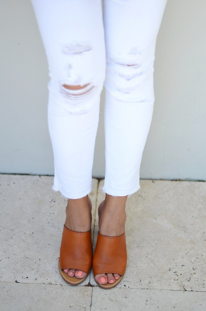 summer outfit leather mules