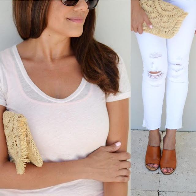 J.Crew vintage tee and J Brand distressed white jeans | Beautifully Seaside
