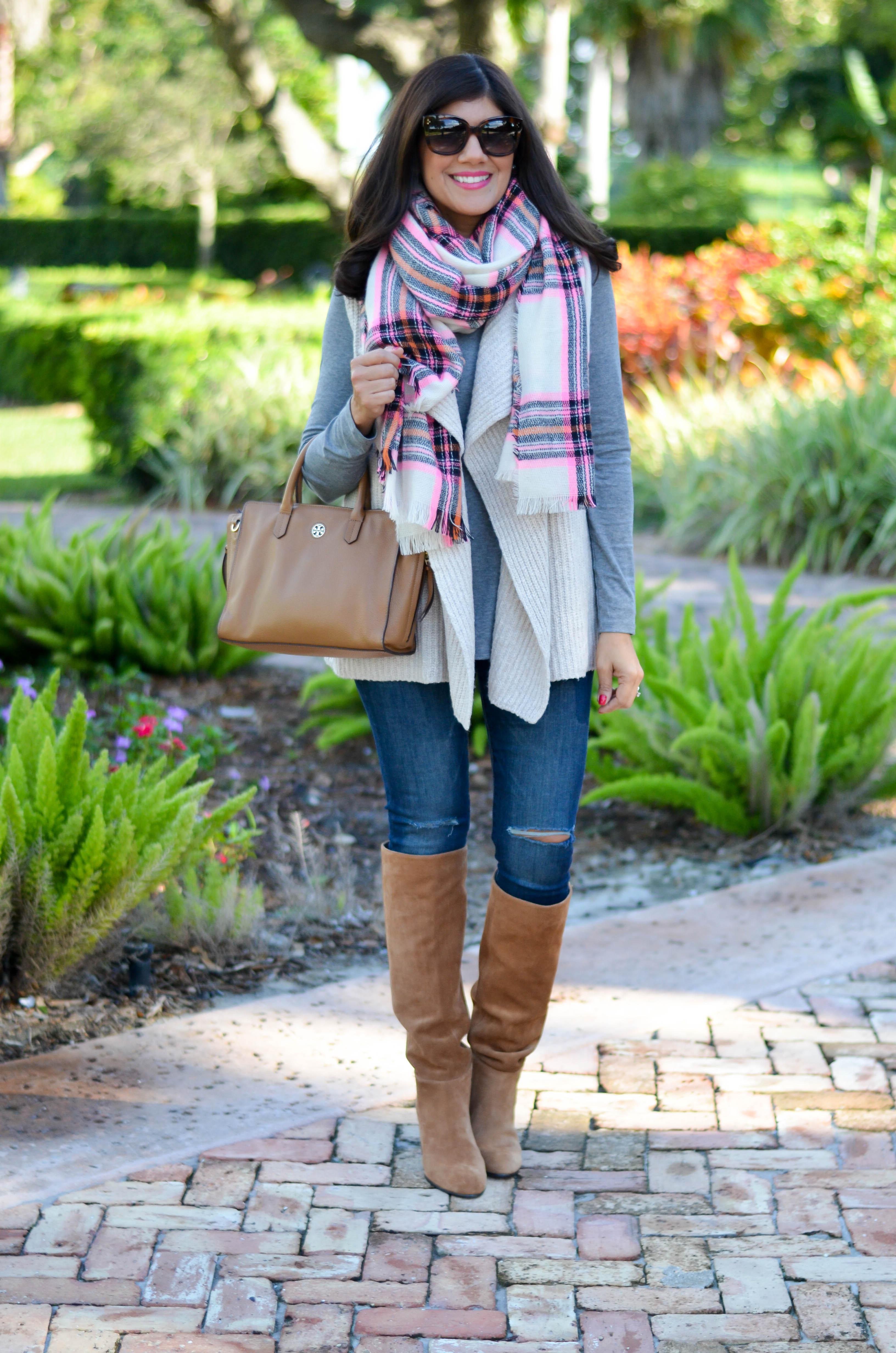 pink-plaid-blanket-scarf