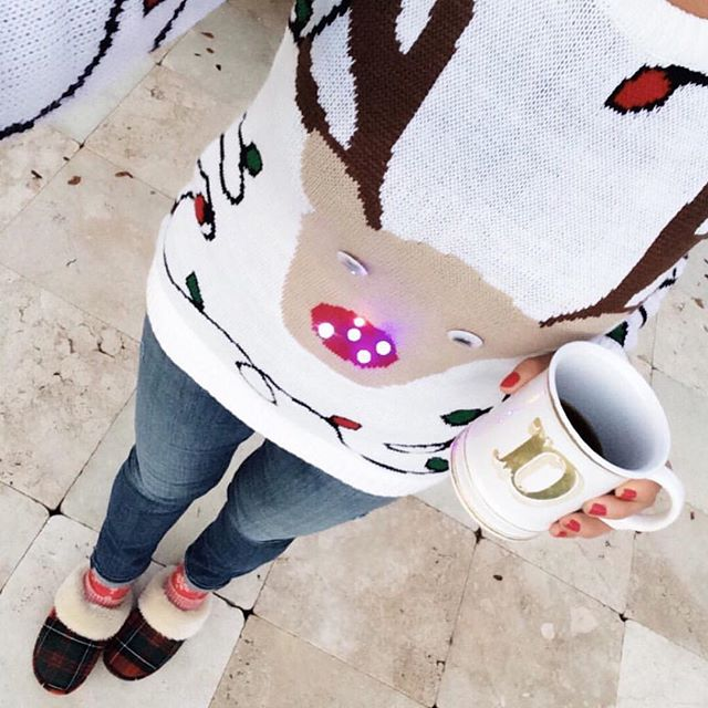 Christmas reindeer light-up sweater