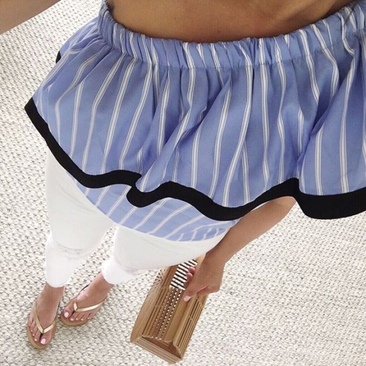 SheIn one shoulder contrast trim striped blouse