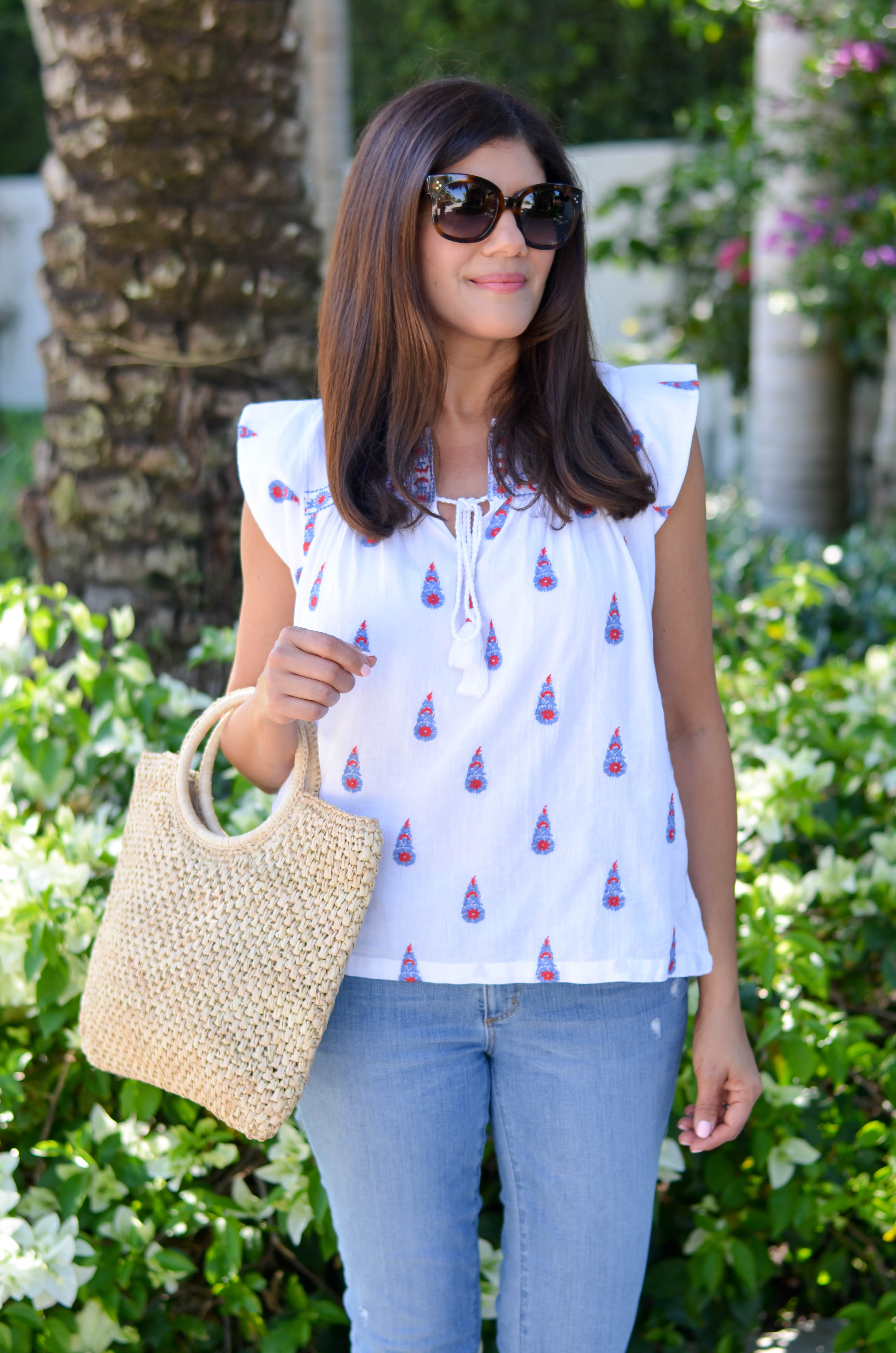 summer embroidered flutter sleeve top
