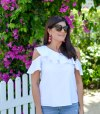 summer's best essential one shoulder white ruffle top