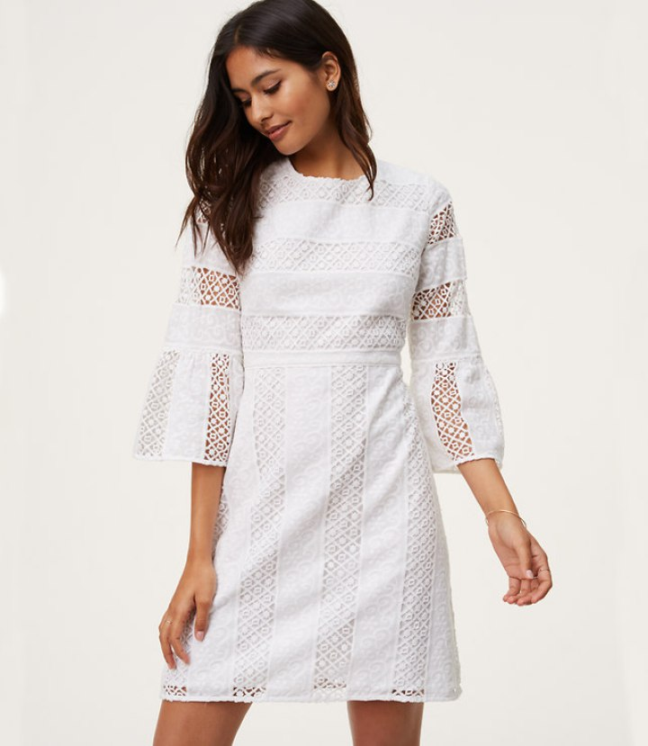 lace bell sleeve dress white