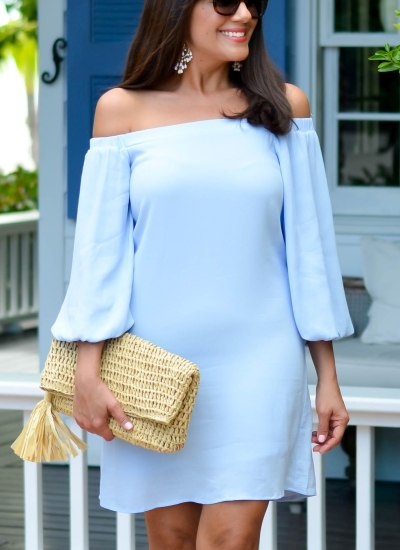 SUMMER DRESS SERIES // POWDER BLUE OFF THE SHOULDER DRESS