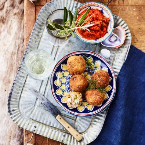 Air Fried Arancini with Grilled Red Pepper Sauce