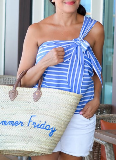 ONE SHOULDER STRIPED BOW TOP