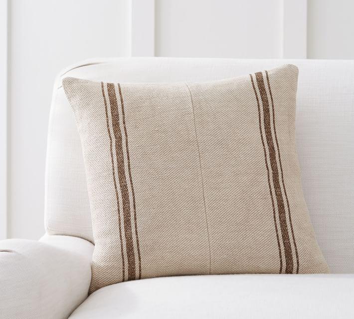 Pieced Grainsack Stripe Pillow Cover