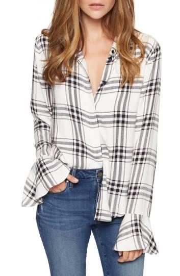 ruffle cuff plaid shirt