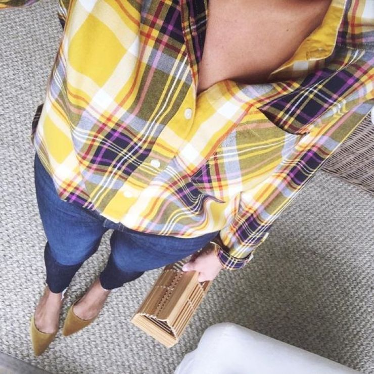 Desiree of Beautifully Seaside styles a plaid shirt from Old Navy