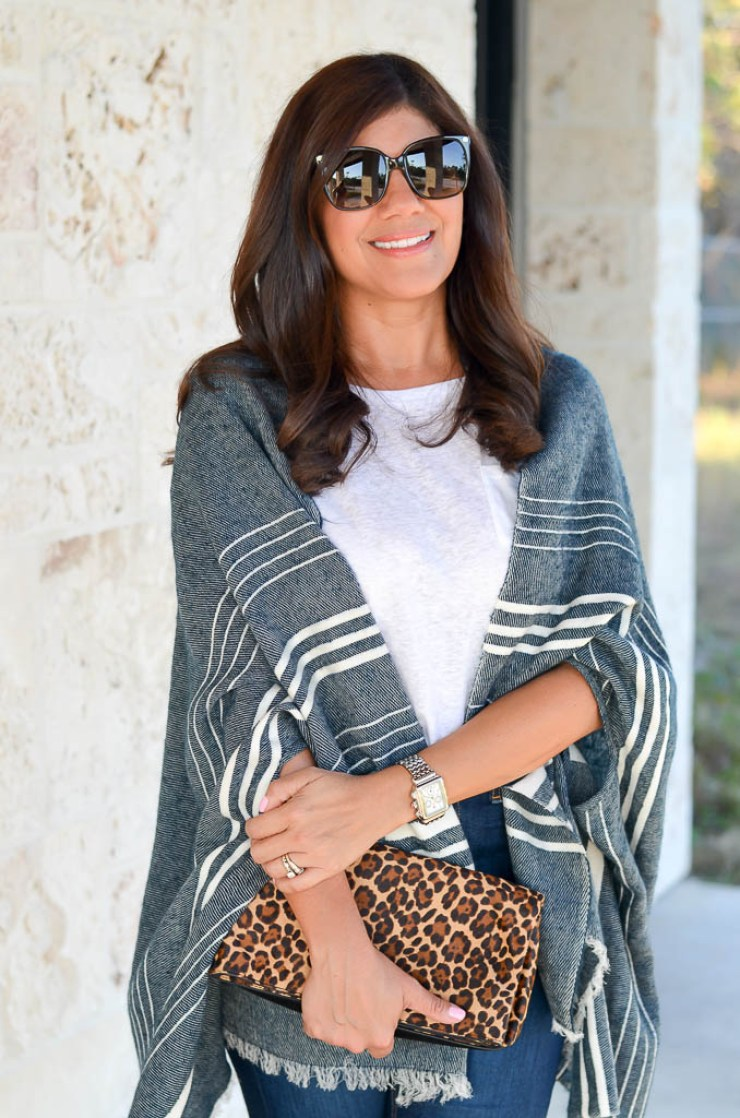 Desiree, Lifestyle Blogger of Beautifully Seaside, shares tips on styling the fall cape scarf