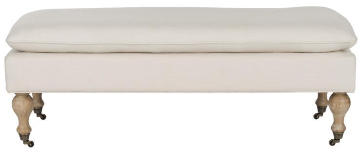Safavieh-Hampton-Cream-Pillowtop-Oakwood-Bench
