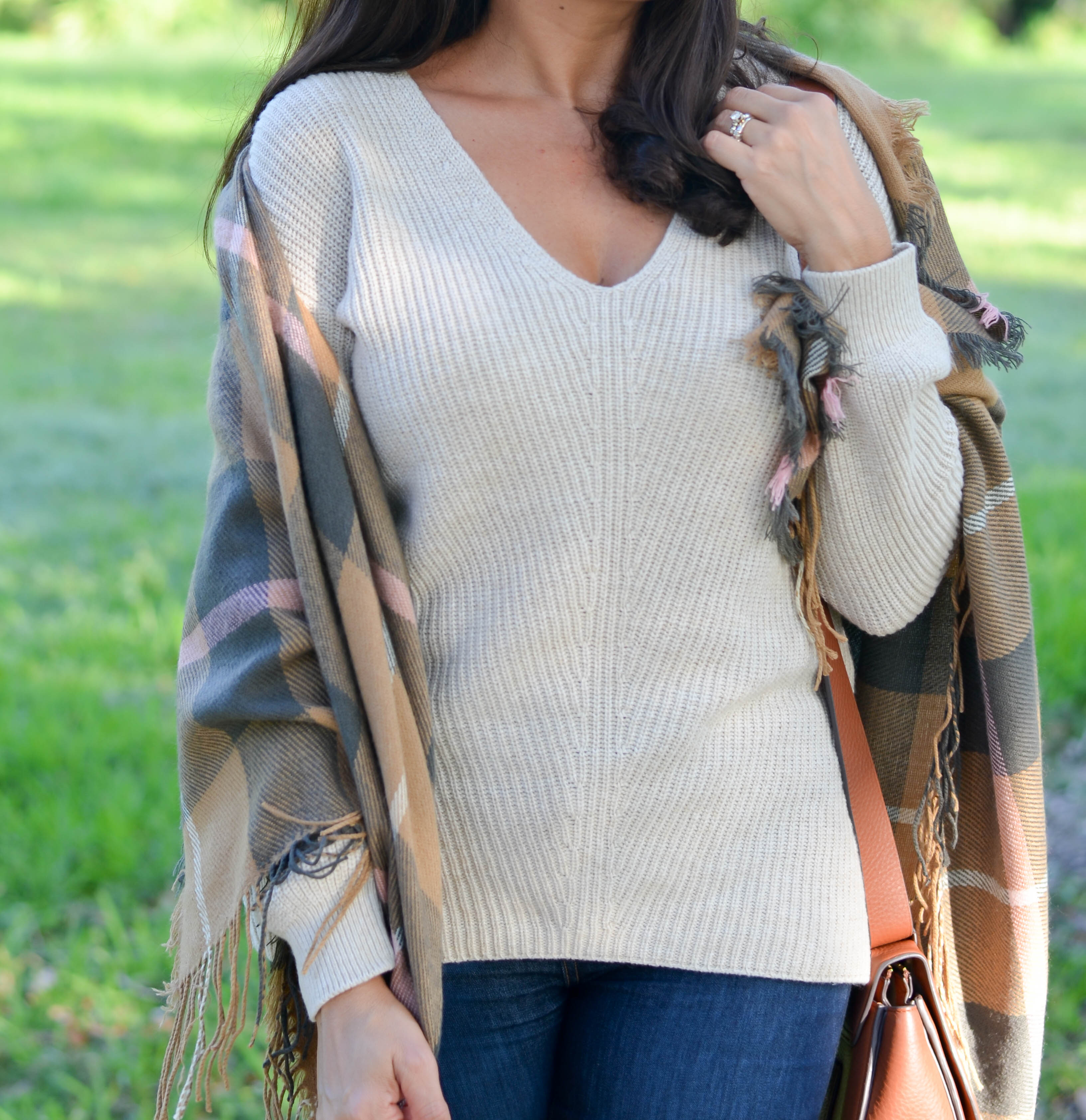 fall plaid scarf + best high waisted jeans