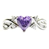 Amethyst (Purple) Heart Shaped Promise Ring - Beautiful ...