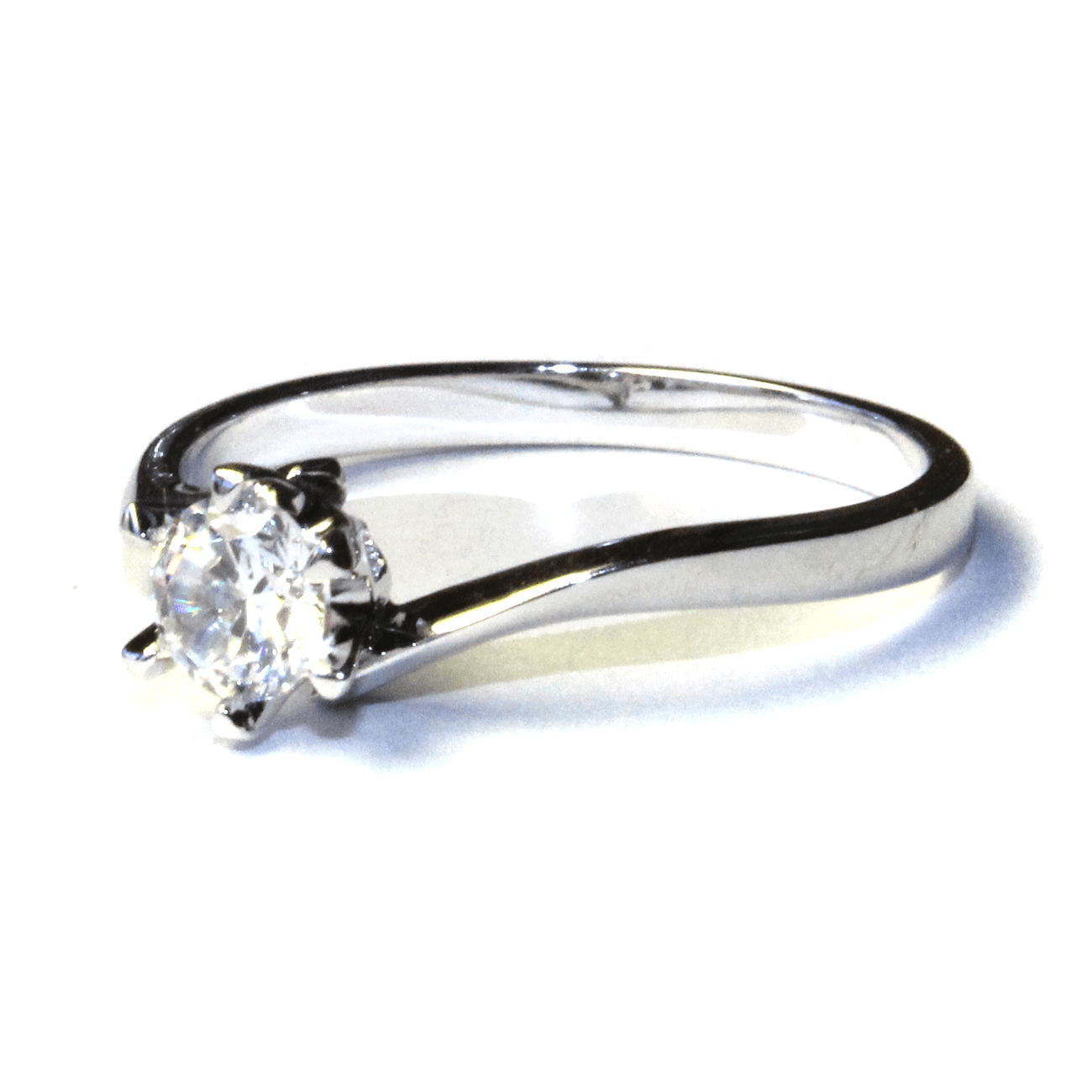 Curved Solitaire Diamond Promise Ring