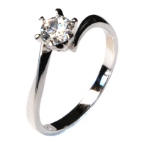 Curved Solitaire Diamond Promise Ring - White Cubic ...