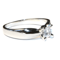 Diamond Promise Ring - Silver Solitaire Stone - Beautiful ...