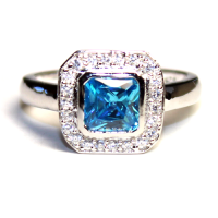 Princess Cut Aquamarine (Blue) Promise Ring - Beautiful ...