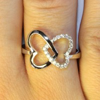 2 Interlocked Hearts Promise Ring - Beautiful Promise Rings
