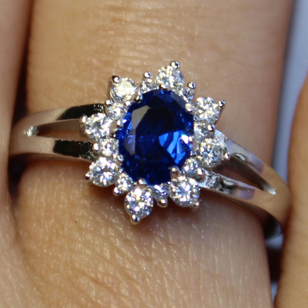 Sapphire Promise Ring Blue Cubic Zirconia Beautiful