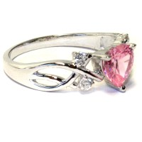 Pink Heart Shaped Promise Ring - Pink Cubic Zirconia ...
