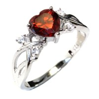 Ruby Heart Shaped Ring - Red Cubic Zirconia - Beautiful ...