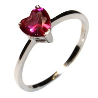 Ruby Heart Promise Ring - Cubic Zirconia Red - Beautiful ...