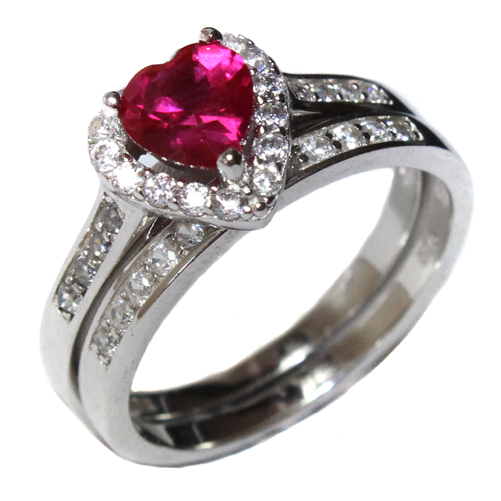 Ruby Heart Promise Ring With Band