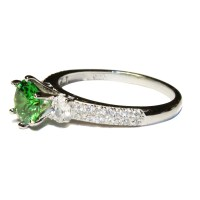 Solitaire Emerald Promise Ring - Green Cubic Zirconia ...