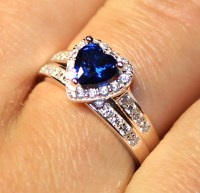 Sapphire Heart Promise Ring With Band - Blue Cubic ...