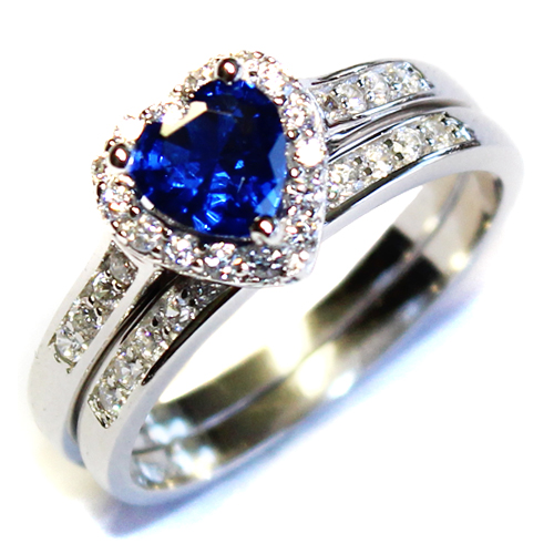 Sapphire Heart Promise Ring With Band