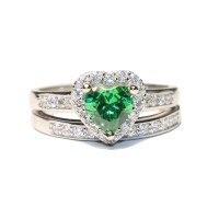 Emerald Heart Promise Ring With Band - Green Cubic ...