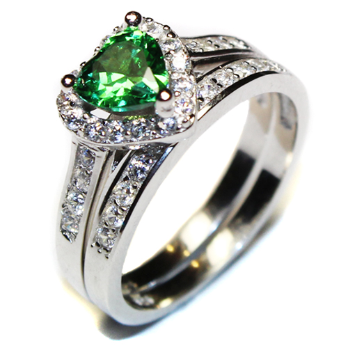 Emerald Heart Promise Ring With Band