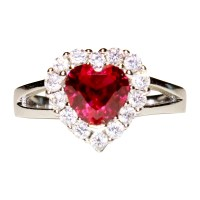 Ruby Halo Heart Promise Ring - Red Cubic Zirconia ...