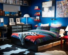 bedroom-cool-teenage-boys-bedroom-with-animal-printed-fur-rug-and-study-desk-and-platform-bed-and-blue-wall-paint-color-cool-boys-room-inspirations-and-ideas-cool-rooms-for-teenagers-boys-boys-bedroo