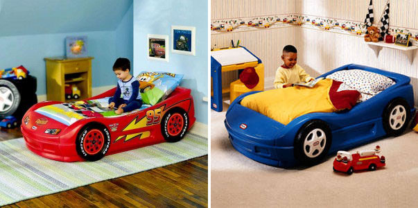 car-shaped-beds-for-cool-boys-room-designs-race-cars-boys-bedroom-ideas-red-car-bed-and-red-shelving-furniture-ideas-transportation-station-turnament-olimpiade-with-white-wall-and-hardwood-floor-safet
