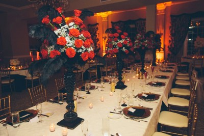 Red Rose Tall Wedding Centerpiece with Black Feathers