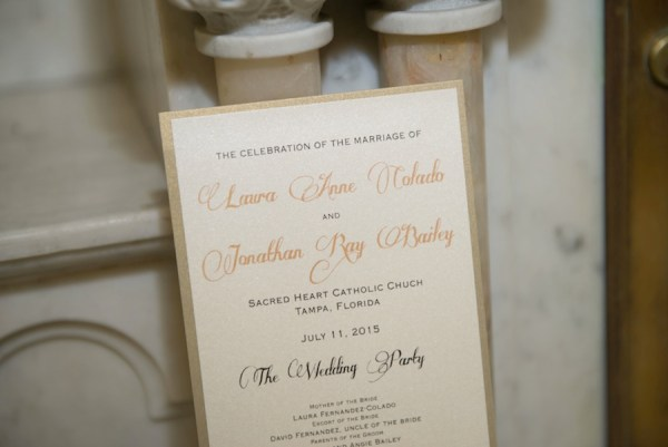 Wedding Invitation Ceremony With Gold Detailing