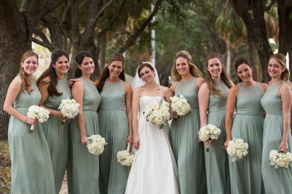 Bride and Bridesmaids Bridal Portrait with Green Dresses and Ivory Floral Bouquets | Tampa Wedding Floral Designer Northside Florist