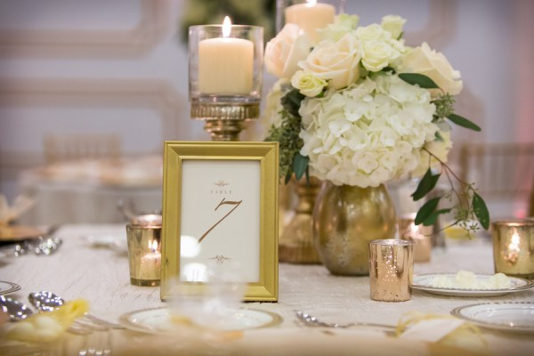 Ivory and Gold Wedding Reception Table Decor with White Flowers | Tampa Wedding Floral Designer Northside Florist