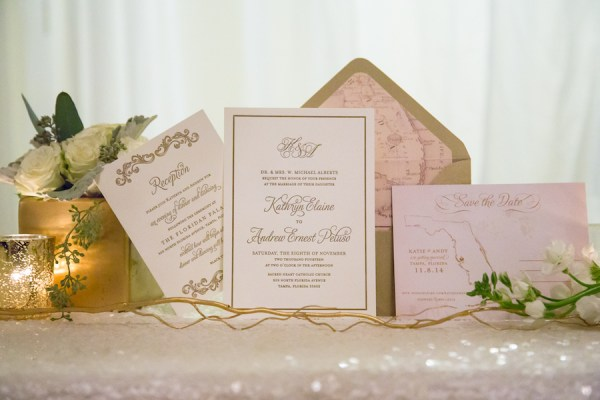 Ivory and Gold Wedding Invitation Stationary