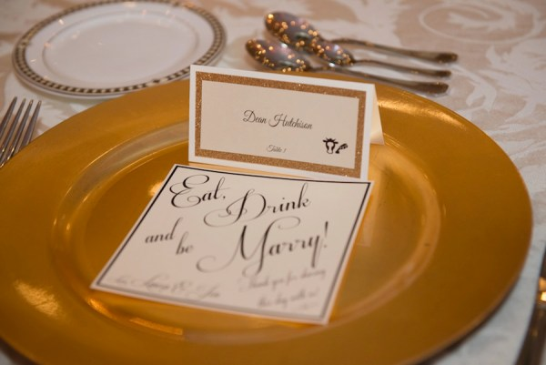 Wedding Reception Place Setting Decor with Gold Chargers and Glitter Place Card