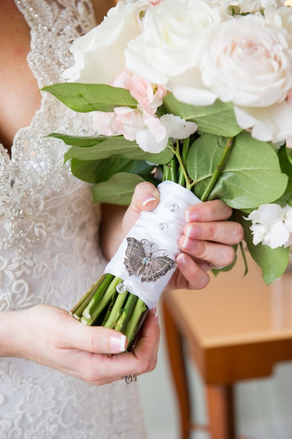 White Ivory and Blush Pink Roses in Wedding Bouquet with Butterfly Brooch   Tampa Wedding Floral Designer Northside Florist