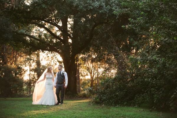 Bride and Groom Outdoor Tampa Bay Wedding Portrait in Woods | Land O Lakes Wedding Floral Designer Northside Florist
